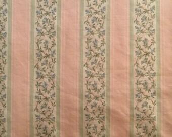 Vtg Full Flat Bed Sheet - Stripes and Flowers in Pink Green Blue - Louis Nichole for JP Stevens