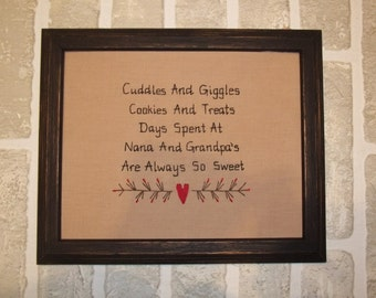 UNFRAMED Primitive Sampler Stitchery Picture NANA & GRANDPA Country Home Decor 8x10 Decoration Gift Present Baby Announcement wvluckygirl