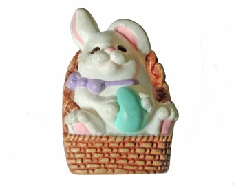 EASTER BUNNY vintage pin lapel brooch badge basket eggs cute