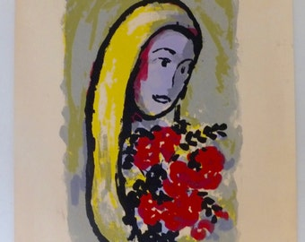 Marc Chagall Lithograph of a Woman With Flowers