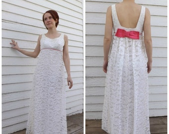 Vintage 60s Lace Gown Party Dress Empire Pink Bow Sleeveless Long 1960s XS Petite