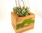 Select Work - Succulent Planter in Cherry Wood with green resin inlay - Wedding Gift, Anniversary Gift, House