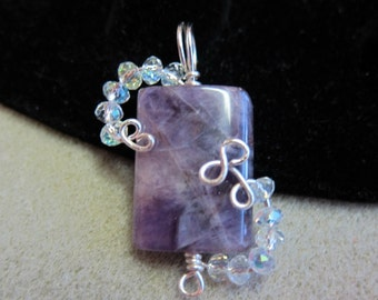 Amethyst natural stone Pendant crystals beads non tarnish silver wire WatercolorsNmore