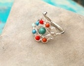 Flourish Ring in Turquoise and Coral