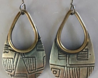 Sterling Silver and Brass Teardrop Earrings