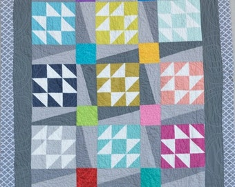 "Modern Twist Quilt, Flannel Backed Lap Quilt 58"" X 77"""