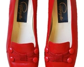 Red leather flats with buttons size 6.5