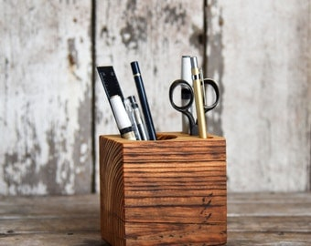 Wood Desk Caddy Small, Desk Organizer, Office Desk Accessories, Pencil Holder, Tool Caddy, Office Decor, Desk, Reclaimed Wood, Peg and Awl