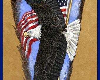 American Flag Soaring Bald Eagle Rv Trailer Wall Mural Decal