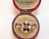 SALE-Antique Victorian Enamel Mourning Ring w/ Split Pearls & Diamond 15k gold, marked for 1860. Sz 7.75.