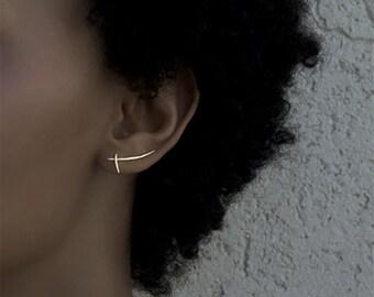 Samurai Ear Climber. Ear Bar. Rose Gold Earrings. Ear Lobe Pins.