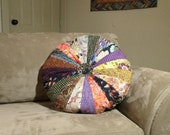 """Large Quilted Round Pillow BoHo  20"""" Quiltsy Handmade"""