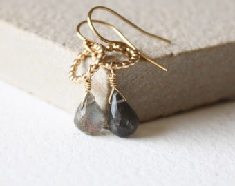 Dainty gold, Amelia Labradorite earrings, gold drop earrings, minimal dainty earrings, delicate earrings, gift for her, birthday gift,