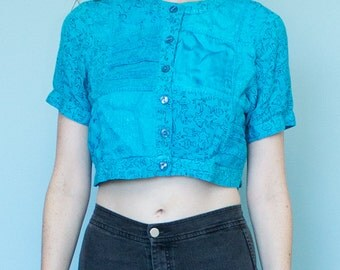 Blue Country Wear Patchwork Print Short Sleeve Crop Top Button Up Size S