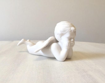Cherub figurine, angel figure, vintage angel, vintage figurine, vintage cherub, angel statue, china figurine, ceramic cherub, white cherub