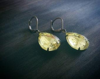 Jonquil Yellow Teardrop Jewel Earrings // Oxidized Brass // Faceted Rhinestones // Vintage Czech Glass // Summer Wedding Jewelry // Handmade