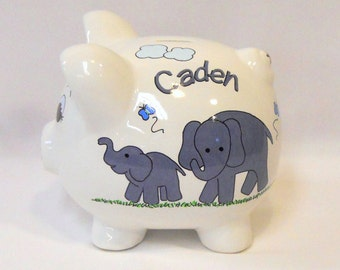 Personalized Piggy Bank with Elephants