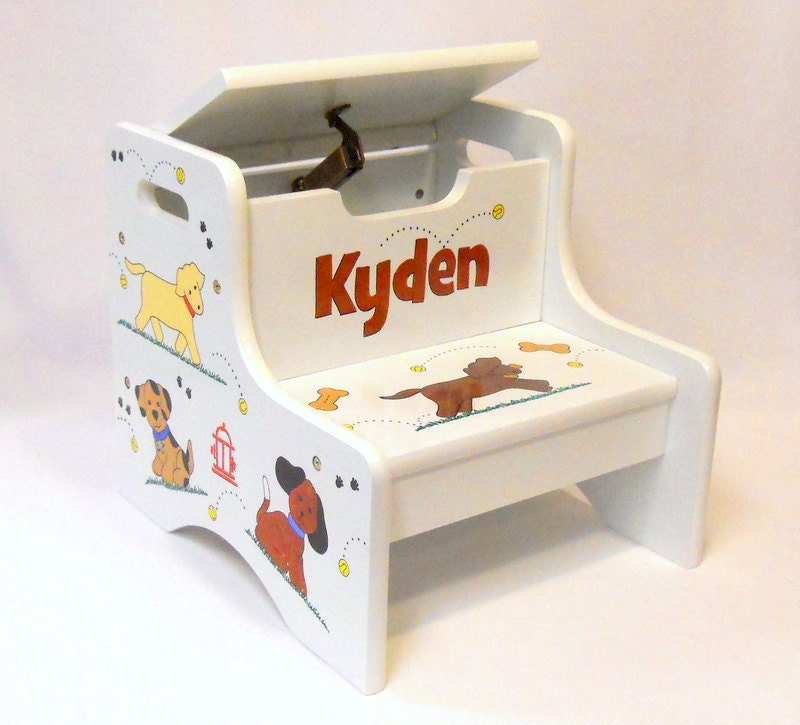 Large Personalized Two Step Stool Dog Design For Kids