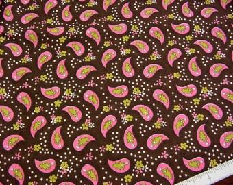 Vintage 60s Fabric -Bubblegum Pink Paisley on Dark Chocolate Brown - Eye Candy