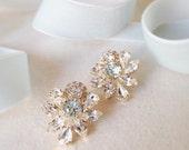 KATE- Swarovski Crystal Bridal Earrings- Crystal Stud Earrings- Rhinestone, Bridal Statement Earrings
