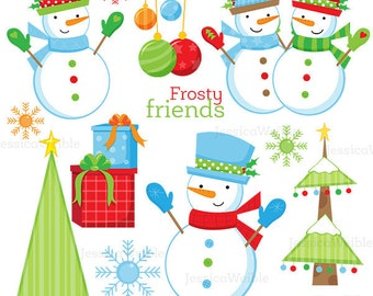 Frosty Friends Cute Digital Clipart, Christmas Clip art, Snowman Clipart - Snowman Graphics - Christmas Graphics, Winter Snowman Images