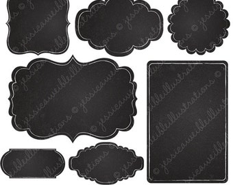 Chalkboard Frames - Cute Digital Clipart for Commercial and Personal Use, Frames Clipart, Chalkboard