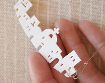 "textile necklace-white cotton fabric-""kyklades""-minimal modern-free shipping to Greece"