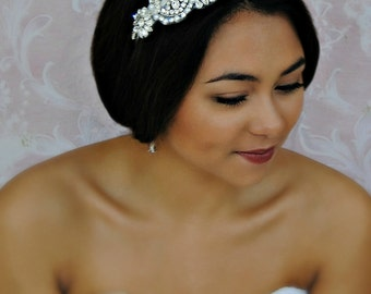 Crystal and Pearl Headband, Swarovski Bridal Headband, Silver Art Deco Head Piece - ELEANOR