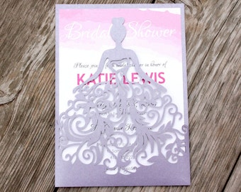 KATIE - Laser Cut Bride with Swirl Gown Shimmering Purple Lilac Folder Pink Wedding Bridal Shower Invitation