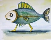 watercolour painting/ Walking Fish / funny fish painting