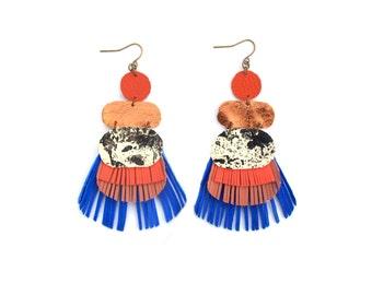 Blue Fringe Earrings, Orange Leather Earrings, Geometric Earrings, Metallic Copper Earrings, Marbled Earrings, Statement Earrings