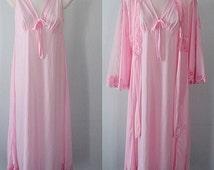 Vintage Peignoir, Pink Peignoir, 1980s, Anna, Pink Peignoir Set,  Wedding, Romantic, Elegant Peignoir, Pink Lace Long Peignoir