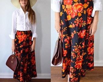 Vintage Maxi Skirt, Vintage Skirt, Black Floral Skirt, 1960s Maxi Skirt, Vintage Skirt, Maxi Skirt