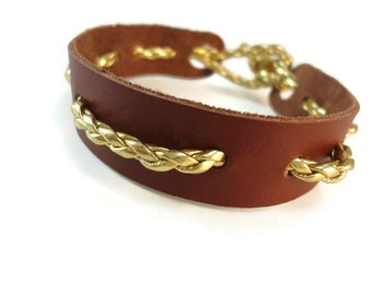 Brown Leather Bracelet Gold Braid Trim, Brown and Gold Nautical Bracelet with Knotted Clasp, Unisex Leather Band Bracelet Nautical Jewelry