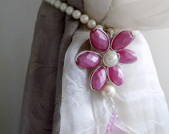 Girls room pink curtain tieback faux pearls, glass crystals flowers - MADE TO ORDER