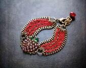 Rhinestone Strawberry Bracelet Red Multi Chain Antique Brass Flat Curb Chain Assemblage Red Luster Rhinestone Vintage Brooch