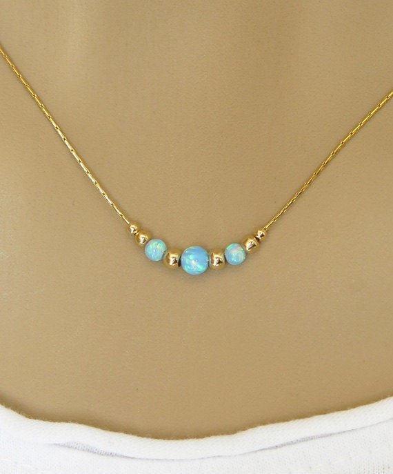 gold necklace opal necklace opal minimalist necklace by