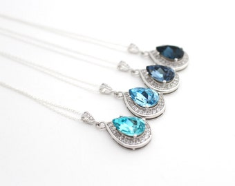 Light Blue Bridal Jewelry, Blue Teardrop Necklace, Bridal Pendant Necklace, Something Blue Jewelry, Bridal Necklace, Beach Wedding Necklace