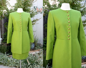 1990's Leaf Green Wool Suit Jacket Pencil Skirt Size 6 Russia Harve Benard Vintage Retro 90's Hipster Office Military