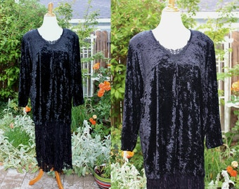 1980's Black Dress Crushed Velvet Lace Size 22W Vintage REtro 80s Two-Pieces Boho HIppie Hipster Evening Dressy