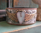 Winged heart leather cuff bracelet - Love Has Wings - Angel wings bohemian, romantic western country cowgirl sky blue boho jewelry soldered