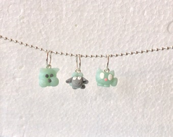 Polymer Clay Stitch Markers, 3 Tiny Animals, Sheep, Dog, Cat, Blue Green Translucent