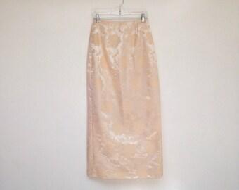 Vintage 1980s Shimmery Floral Cream Jacquard High Waisted Slit Skirt