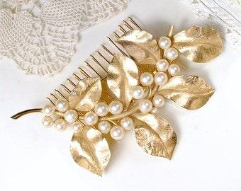 TRUE Vintage Pearl Gold Leaf Vine Bridal Hair Comb/Sash Brooch TRIFARI Autumn Wedding Large Hairpiece Rustic Country Headpiece Woodland Chic