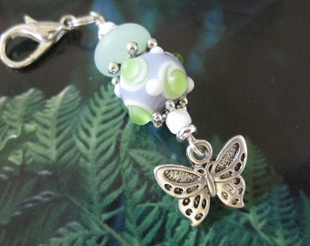 Lampwork, Frosted Rondell & Butterfly Purse Charm Zipper Pull