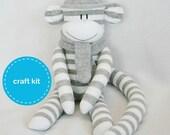 Craft Kit, Sock Monkey Kit - Grey and White Stripes  with Grey Hat