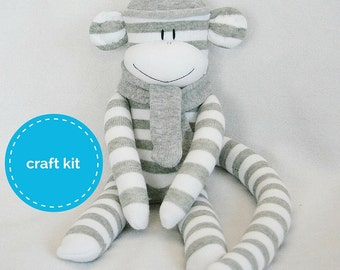 Craft Kit, Sock Monkey Kit - Grey and White Stripes  with Grey Hat