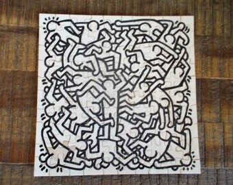 Black and White Keith Haring Party of Life Puzzle 1986