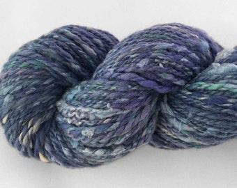 166 yards of worsted weight handspun yarn - Tide