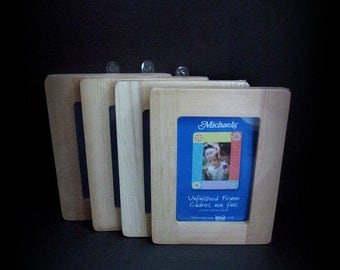 Wood Frame, Wooden Frames, Natural, Unfinished Frame, 4 Frame Lot, Natural Wood, 4 in x 6 in, No Glass Frames, 4x6 unfinished frame, Picture